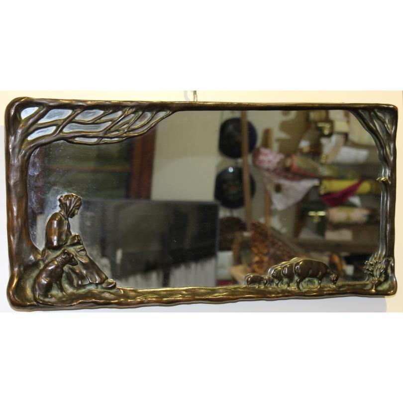 Miroir à cadre en bronze monogrammé HA