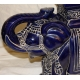 Paire d'éléphants en céramique vernissée bleu