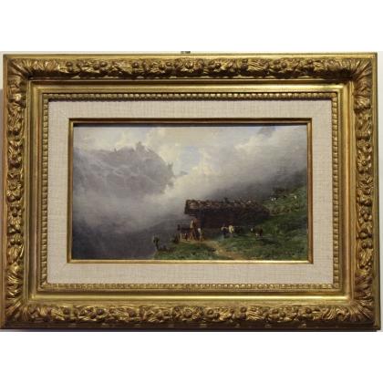 "Tableau ""Chalet sur l'alpage"" signé Karl GIRARDET"