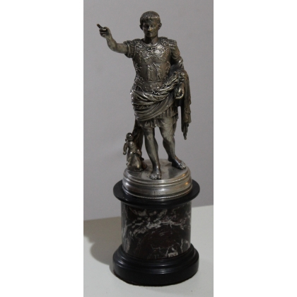 """Bronze """"Auguste l'empereur"""" socle en marbre"""