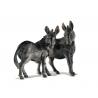 Paire d'ânes en obsidienne sculptée signé EK