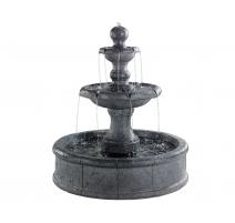 Fontaine ronde en grès à 3 niveaux