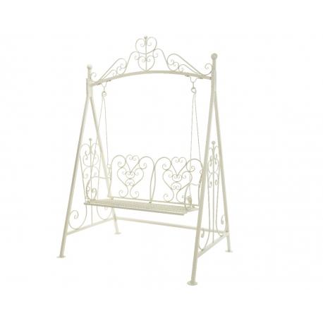 balancelle vienna en fer forg blanc cass sur moinat sa antiquit s d coration. Black Bedroom Furniture Sets. Home Design Ideas