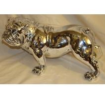 Bulldog en résine argenté - moyen