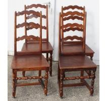 Suite de quatre chaises Louis XIII