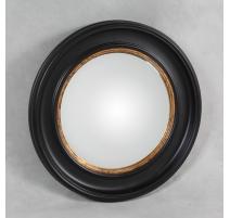 Miroir convex cadre noir et or, grand modèle