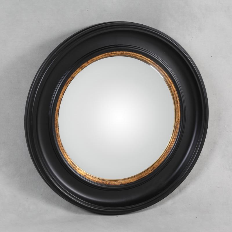 miroir convex cadre noir et or grand mod le sur moinat sa antiquit s d coration. Black Bedroom Furniture Sets. Home Design Ideas