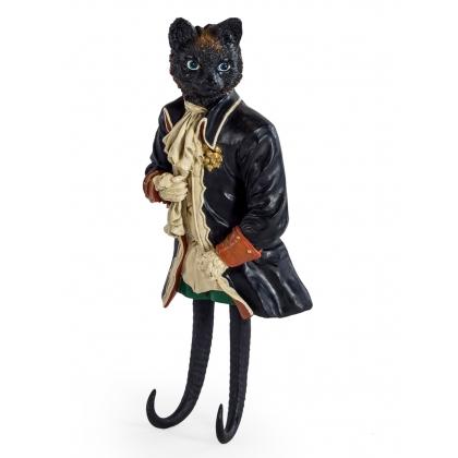 Crochet porte manteau chat en uniforme