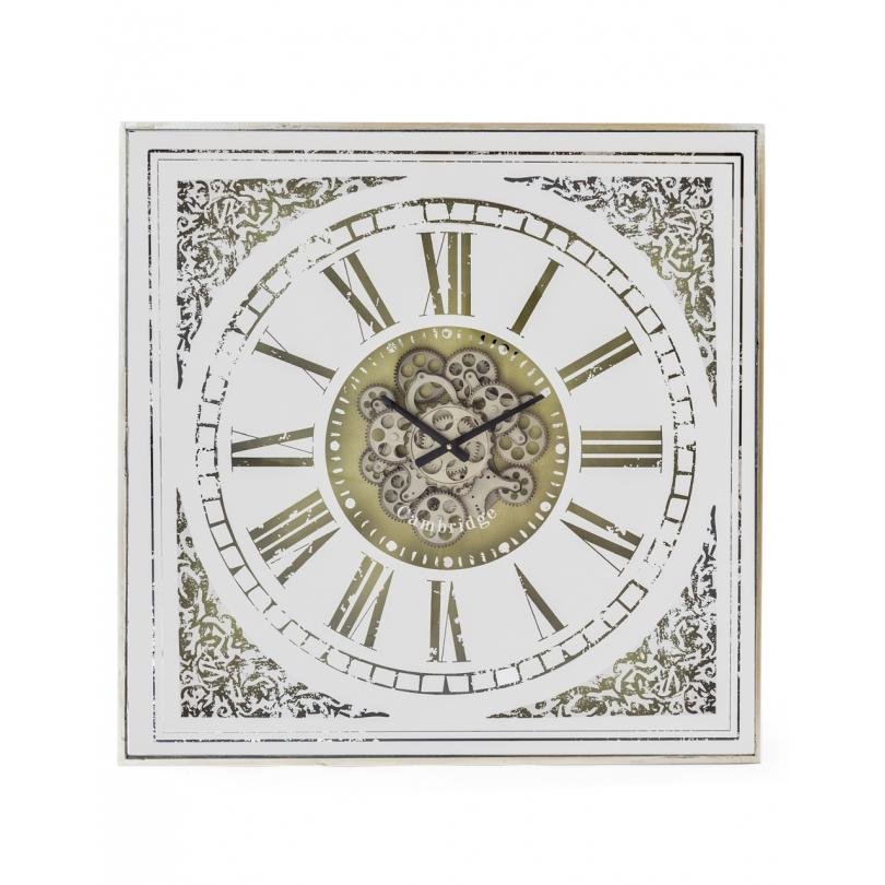 Horloge avec mécanisme mouvant, face miroir
