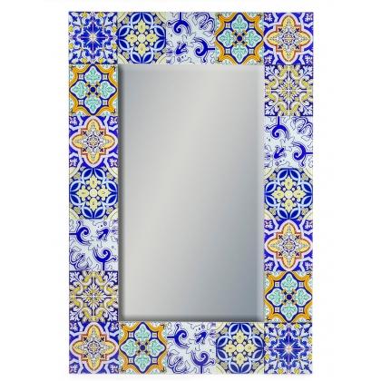 Miroir avec cadre en verre imitation catelles rétro jaune et bleue