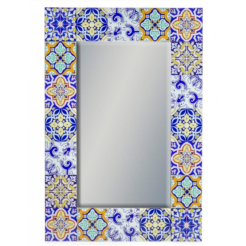 Miroir avec cadre en catelle rétro jaune et bleue