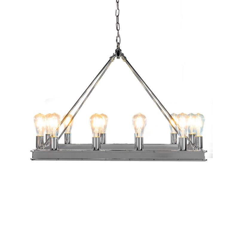 lustre r ctangulaire chrom 12 lumi res sur moinat sa antiquit s d coration. Black Bedroom Furniture Sets. Home Design Ideas