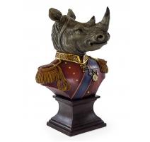 Buste de rhinocéros habillé en uniforme en résine