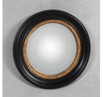 Miroir convex cadre noir et or, moyen modèle