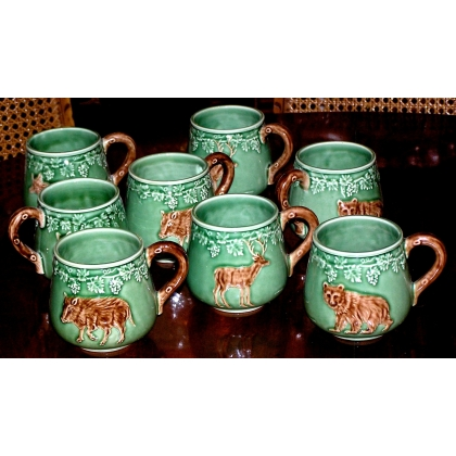 Lot de 8 mugs décor animaux de chasse