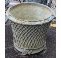 Cache-pot rond décor croisillons