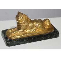 """Bronze doré """"Chien"""", signé E. FRÉMIET."""