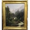 """Tableau """"Lauterbrunnen"""" signé F. HUGUENIN L."""