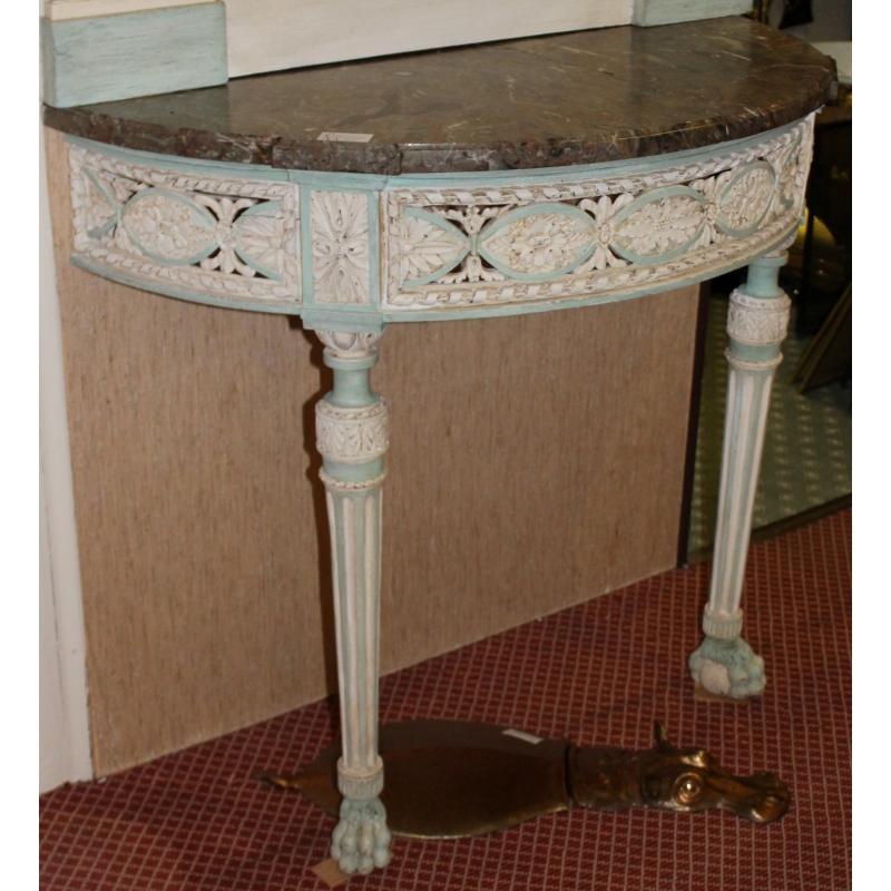 console demi lune de jeanjaquet dessus marbre sur moinat sa antiquit s d coration. Black Bedroom Furniture Sets. Home Design Ideas
