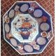 Assiette octogonale en porcelaine Imari
