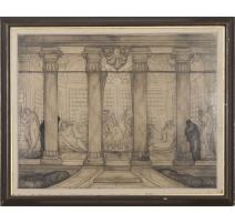 """Tableau """" La fontaine de Zeus"""" signé SARLUIS"""