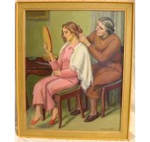 """Tableau """"La coiffure"""" signé A. CACHEUX"""