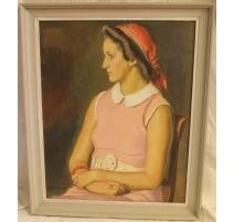 """Tableau """"Femme au foulard rouge"""" signé A. CACHEUX"""