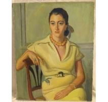 """Tableau """"Femme en robe jaune"""" signé A. CACHEUX"""