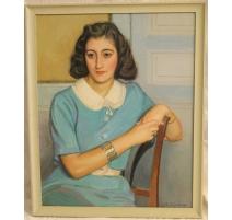 """Tableau """"Femme en robe bleue"""" signé A. CACHEUX"""