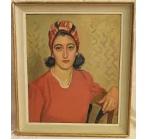 """Tableau """"Femme en robe rouge"""" signé A. CACHEUX"""