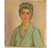 """Tableau """"Femme en robe verte"""" signé A. CACHEUX"""