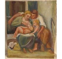 """Tableau """"L'allaitement"""" signé A. CACHEUX 50"""