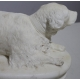"""Sculptre en marbre blanc """"Chien"""""""