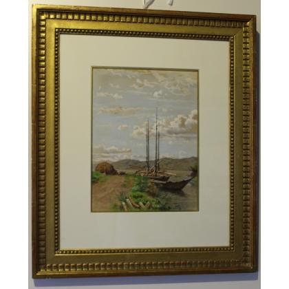"""Aquarelle """"Barques à St-Gingolph"""" signée F. FURET"""