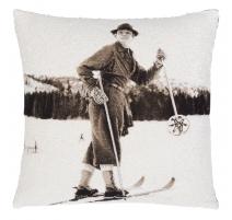"""Coussin sépia """"Homme à ski"""""""