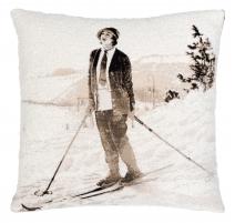 """Coussin sépia """"Femme à ski"""""""