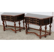 Paire de consoles à 6 tiroirs en bois exotique