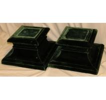 Paire de socles carrés velours vert