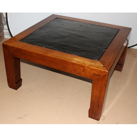 Table basse carrée à plateau en ardoise - Moinat SA - Antiquités décoration