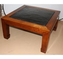 Table basse carrée à plateau en ardoise