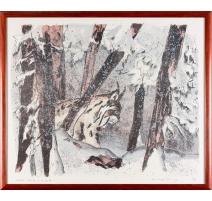 """Lithographie """"Lynx dans la neige"""" signée COSANDEY"""