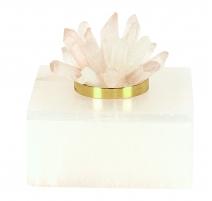 """Boite carrée en marbre blanc """"Cristal"""""""