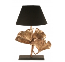 "Lampe ""Double feuilles de Ginkgo"", dorée"
