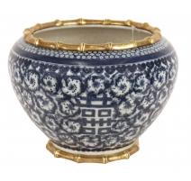 Cache-pot en porcelaine bleu-blanc
