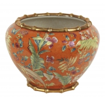 "Cache-pot en porcelaine ""Fleurs"" orange"