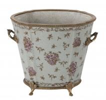 Cache-pot ovale en porcelaine décor fleurs