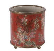 "Cache-pot rond en porcelaine ""Fleurs"", orange"