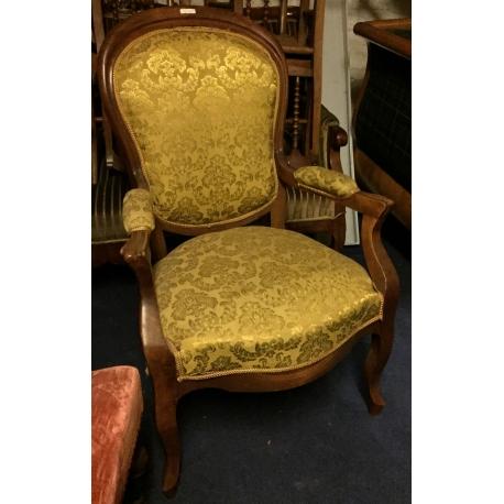 fauteuil napolon iii tissus jaune - Fauteuil Napoleon 3