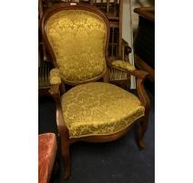 Fauteuil Napoléon III, tissus jaune