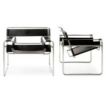 Paire de fauteuils WASSILY en cuir noir
